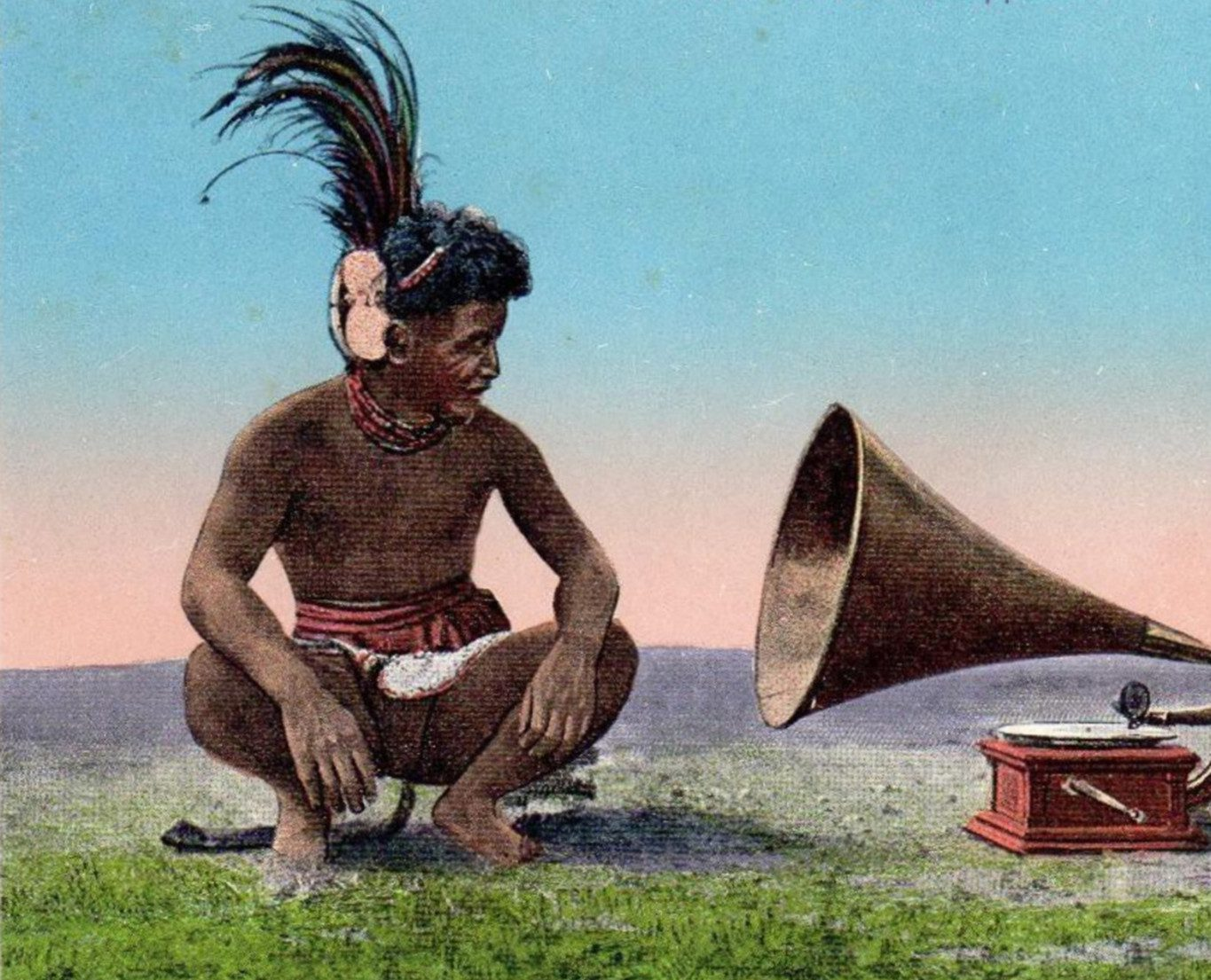 Postcard with a Subuagane listening to a phonograph (Mt Province, Philippines c. 1915)